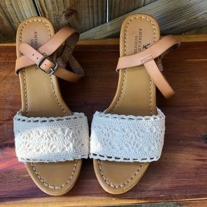 American Eagle Crochet Ankle-Strap Cork Wedges